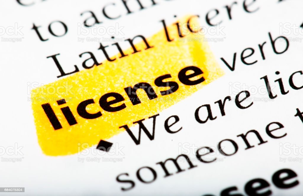 The Word License Definition Printed In The English Dictionary Stock