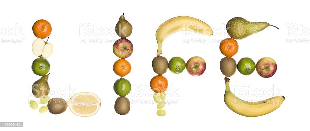 The word 'Life' made of fruit royalty-free stock photo