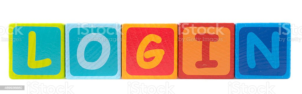the word login written with toy blocks stock photo