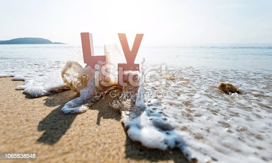 istock The word love on the beach 1065838548