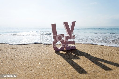 istock The word love on the beach 1065838752