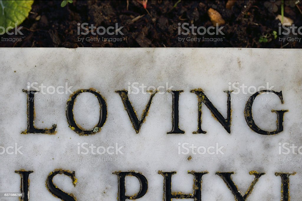 The word loving on marble tombstone with lichen stock photo