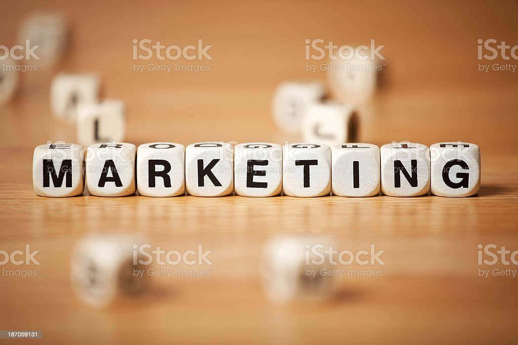 The Word MARKETING Spelled In Letter Cubes royalty-free stock photo