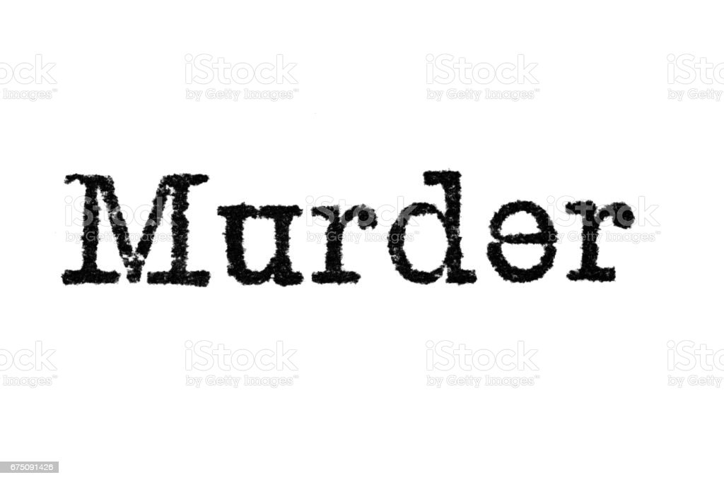 The word 'Murder' from a typewriter on white stock photo