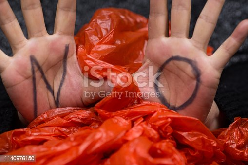 The word 'NO' marked in the hands to plastic bags