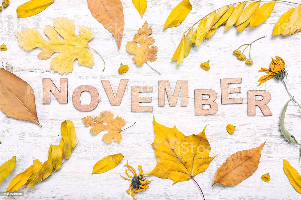 The word \'november\' with yellow leaves on a white wooden background....