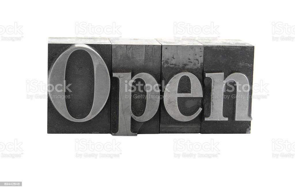the word 'Open' in old metal letterpress type royalty-free stock photo