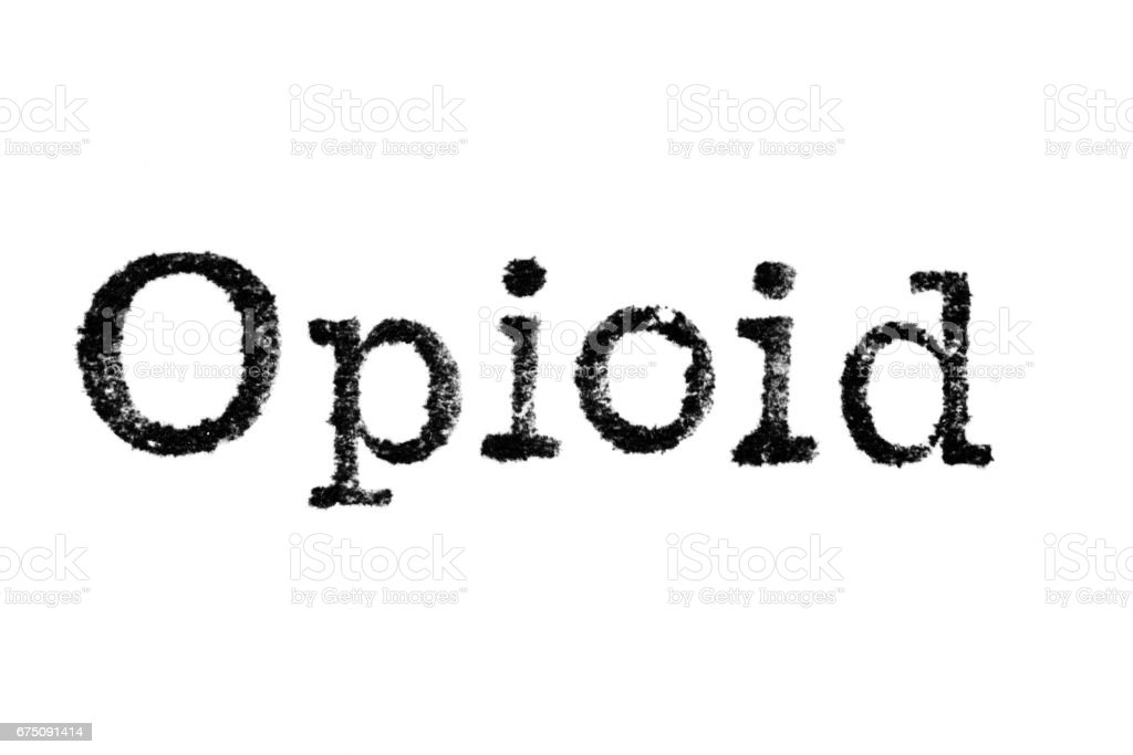 The word 'Opioid' from a typewriter on white - foto stock