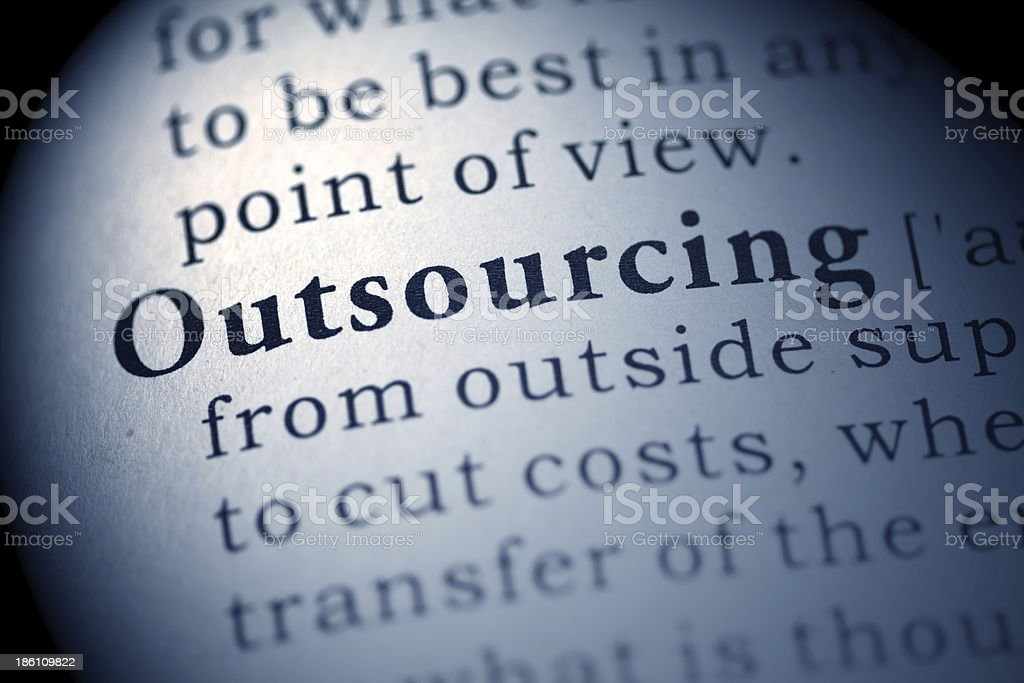 The word outsourcing in the dictionary Fake Dictionary, Dictionary definition of the word Outsourcing. Blue Stock Photo