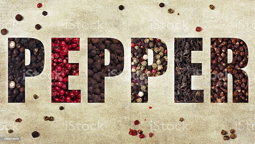 The word pepper royalty-free stock photo