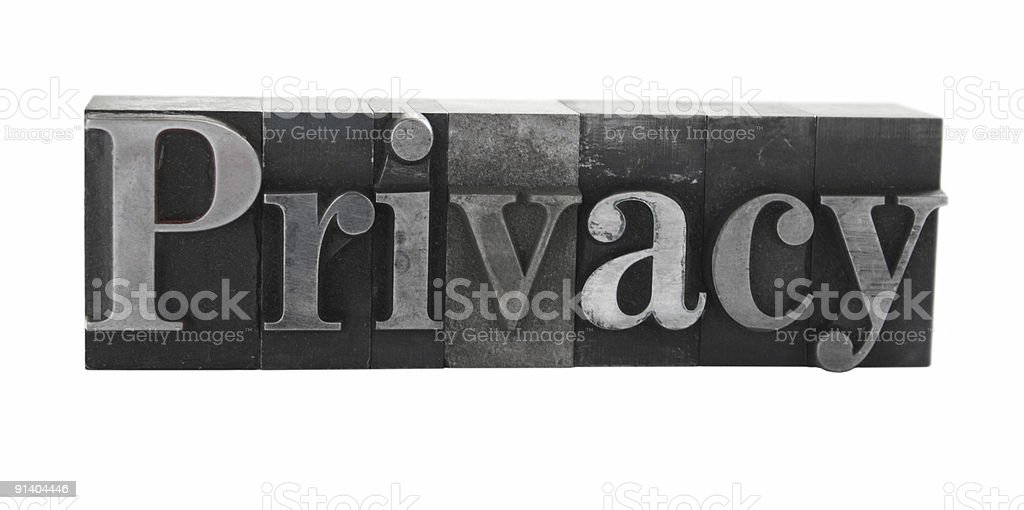 the word 'Privacy' in old metal letterpress type royalty-free stock photo