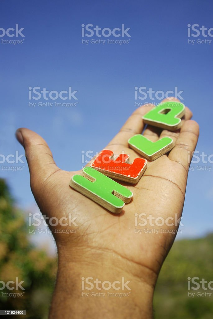 "the word ""help"" palm of in hand royalty-free stock photo"