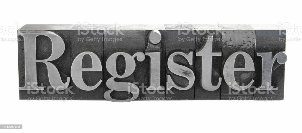 the word 'Register' in old metal letterpress type royalty-free stock photo
