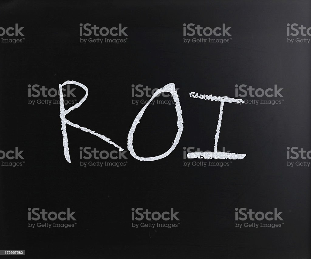 The word 'ROI' handwritten with white chalk on a blackboard royalty-free stock photo