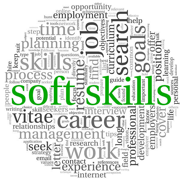 the word soft skills surrounded by business-related words - softness stock pictures, royalty-free photos & images