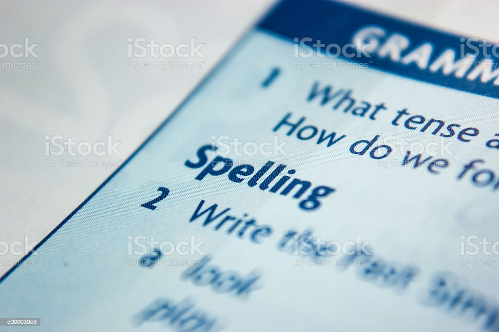 The word SPELLING focused in a textbook royalty-free stock photo