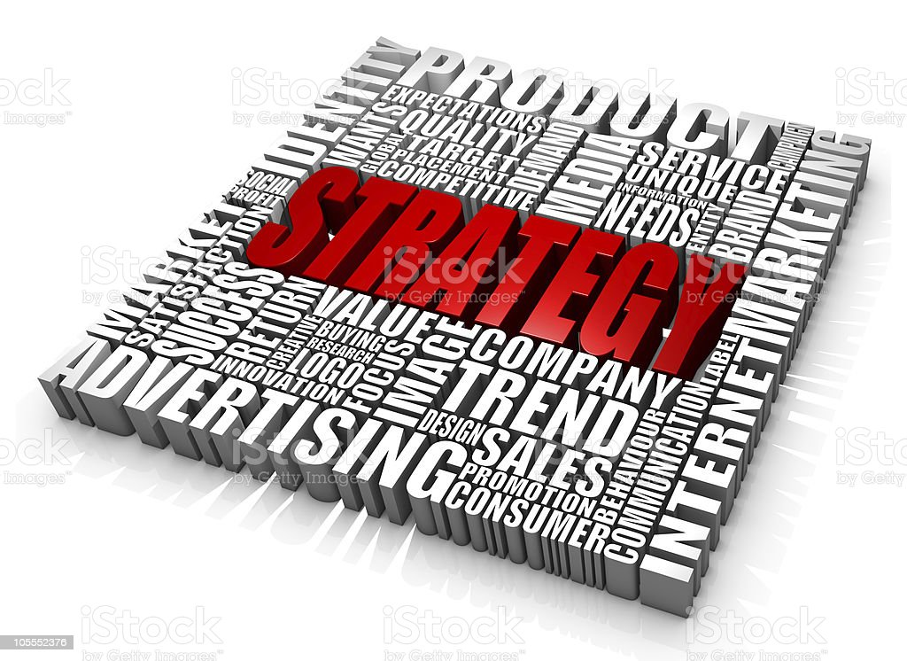 The word strategy in red in center of mono word square royalty-free stock photo