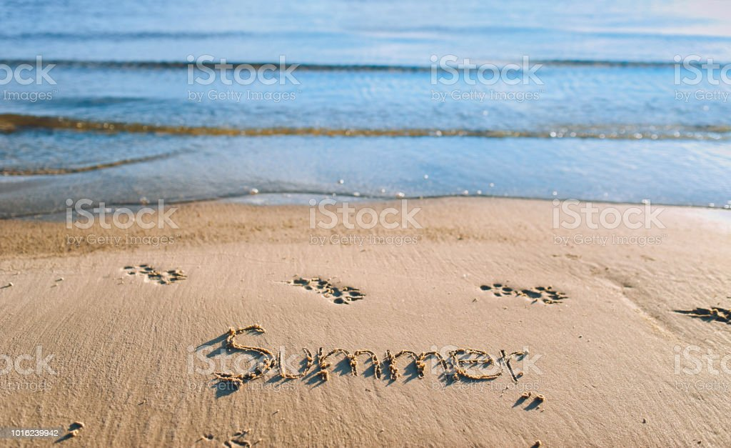 the word summer is written in the sand blue sea wave stock photo