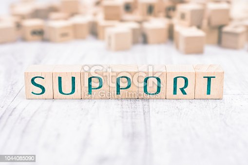 istock The Word Support Formed By Wooden Blocks On A White Table 1044085090
