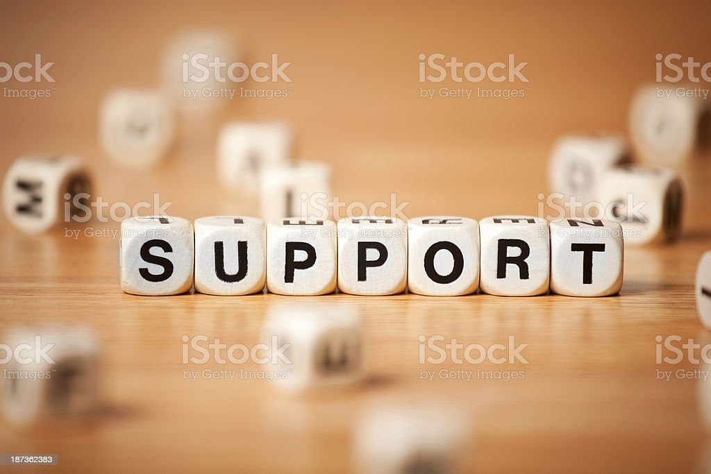 The Word Support Spelled In Letter Cubes royalty-free stock photo