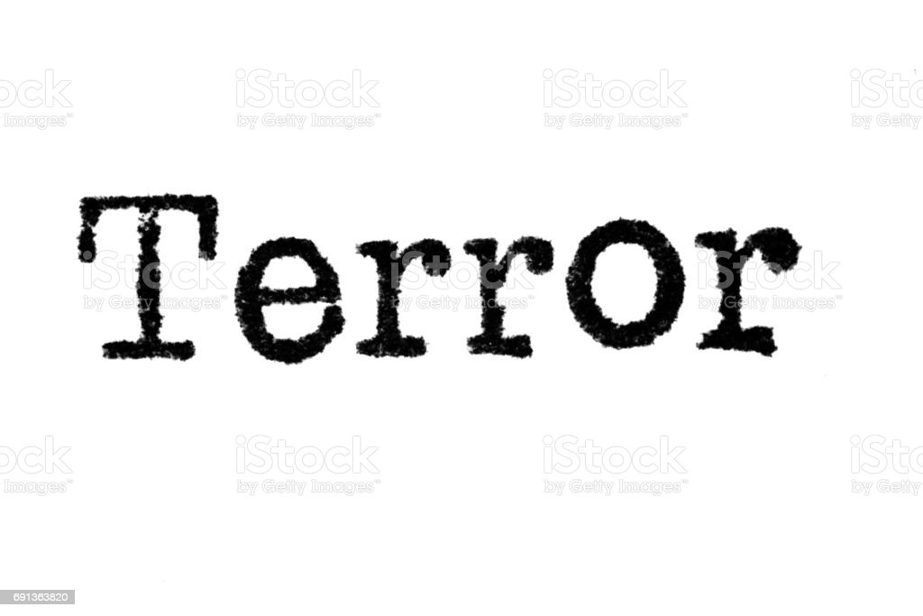 The word 'Terror' from a typewriter on white stock photo