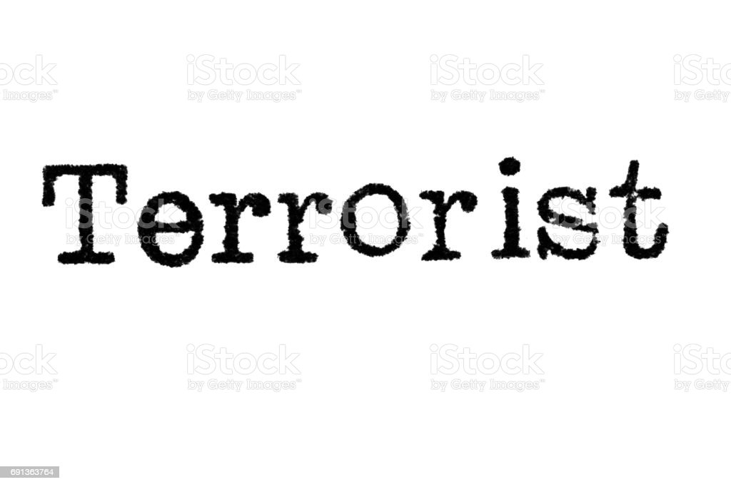 The word 'Terrorist' from a typewriter on white stock photo
