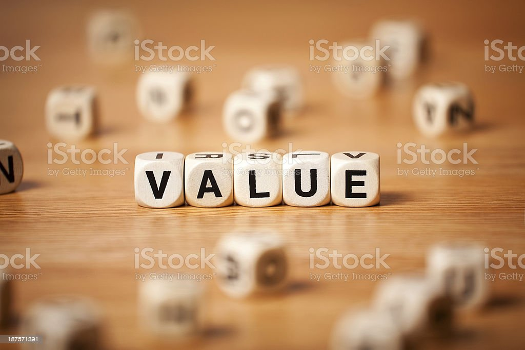 The Word VALUE Spelled In Letter Cubes royalty-free stock photo
