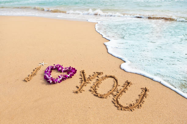 b7b3ca49 The Words I LOVE YOU Written on the sandy beach of Hawaii stock photo