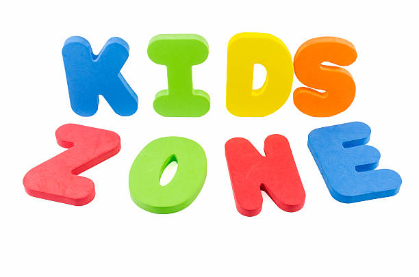 The words 'kids zone' stock photo