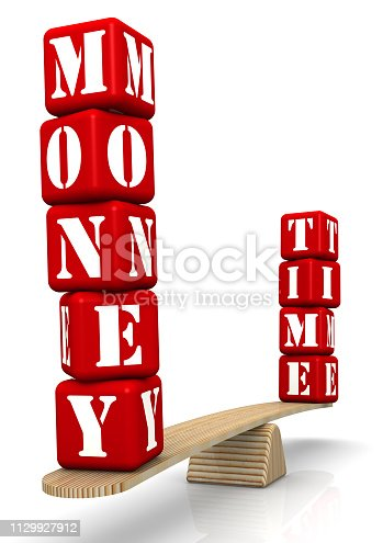 istock The words MONEY and TIME on the scales 1129927912