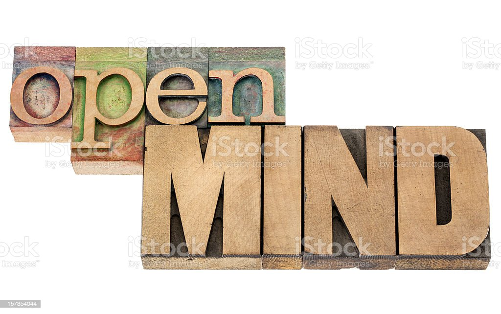 The words 'Open Mind' in vintage wood font type royalty-free stock photo