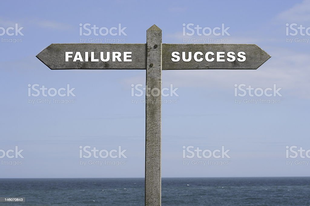 The words success and failure on a wooden sign. royalty-free stock photo