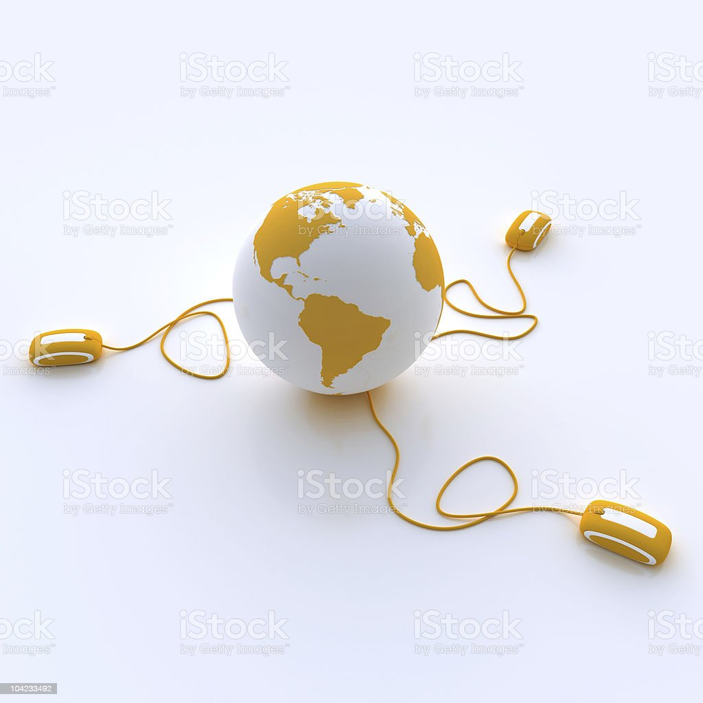 The World connected in orange royalty-free stock photo
