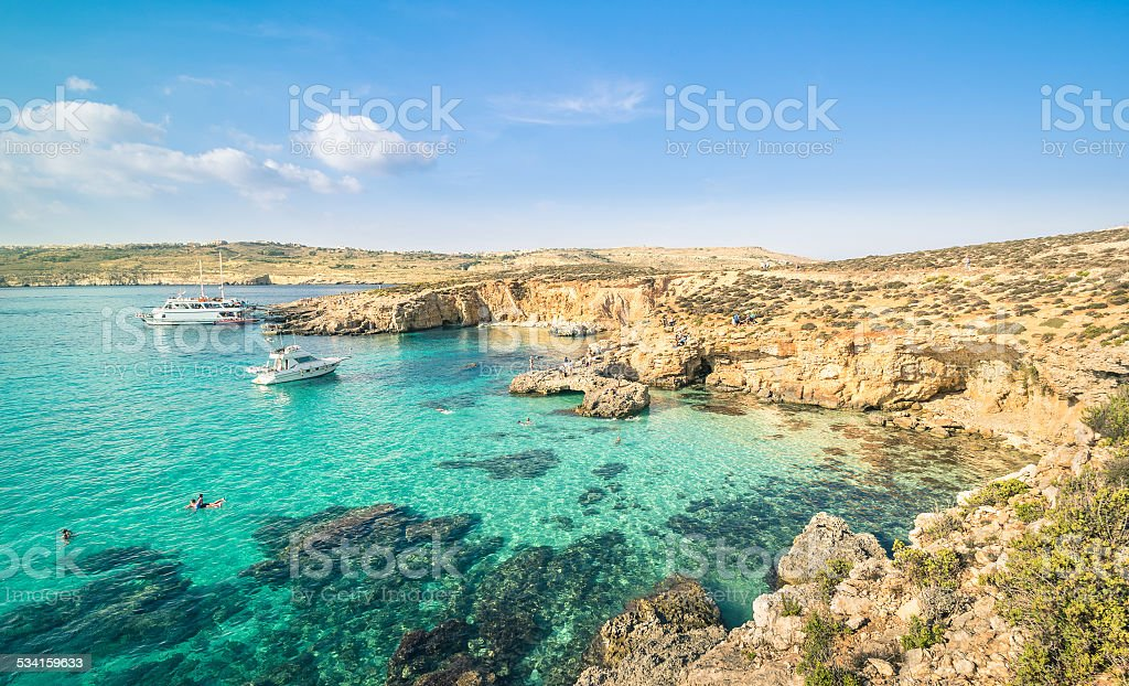 The world famous Blue Lagoon in Comino island - Malta stock photo