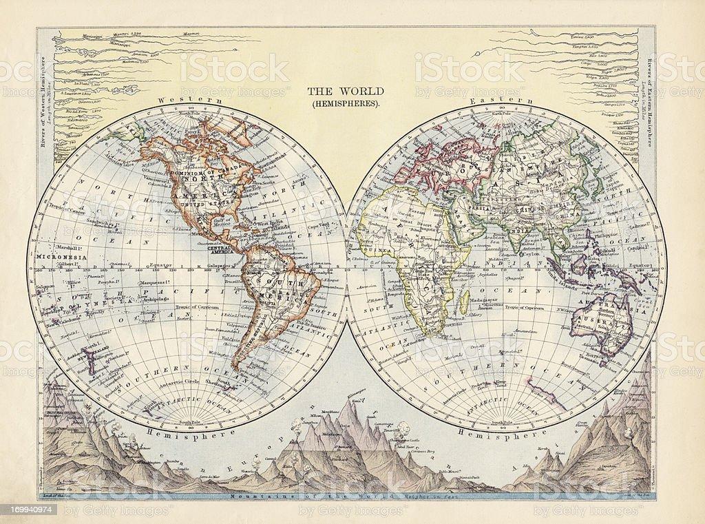 The World Hemispheres Antique Map stock photo