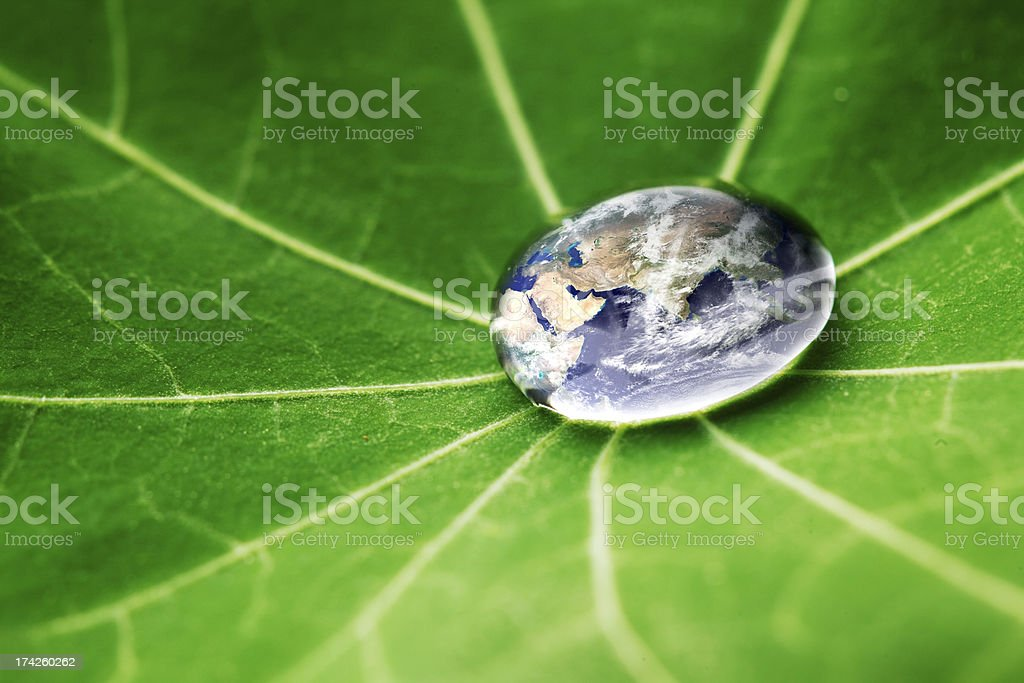 The world in a drop of water royalty-free stock photo