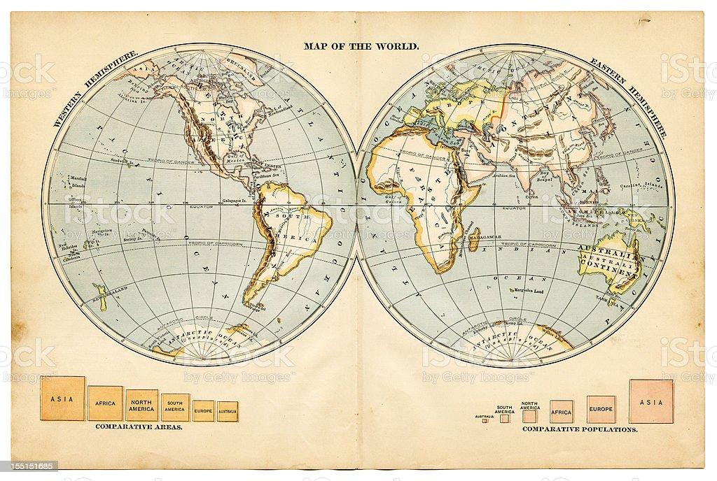 the world in hemispheres 1883 stock photo