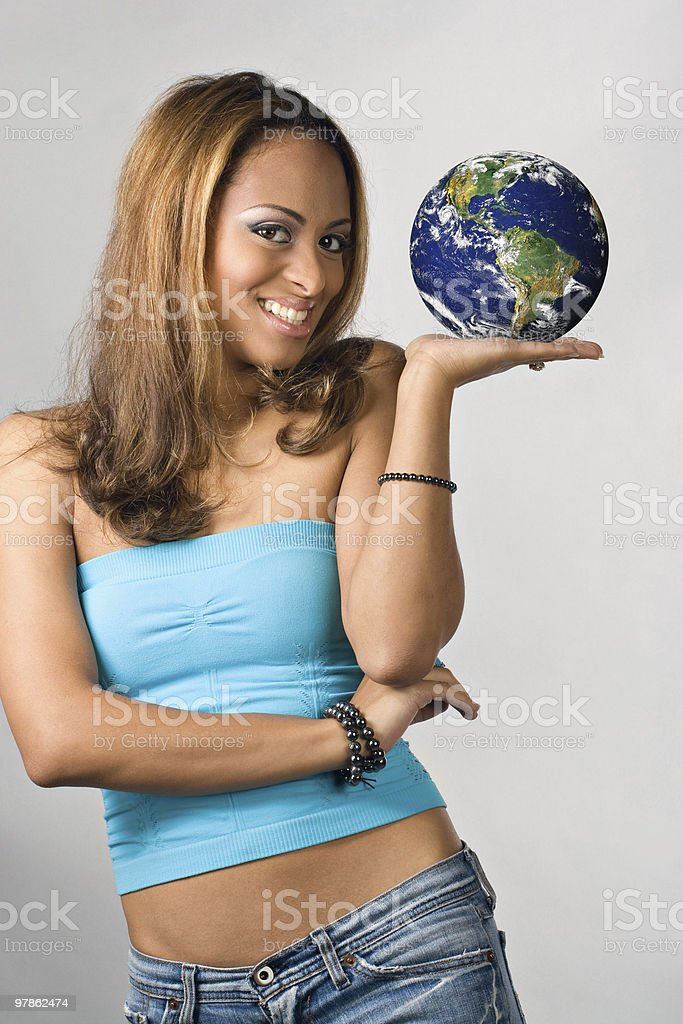 The World In Her Hand royalty-free stock photo