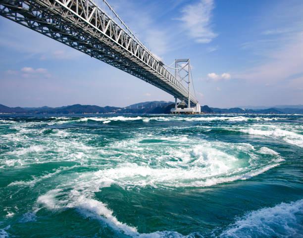 世界最大級の鳴門海峡、日本大鳴門橋のうずしおで波を旋回 ストックフォト