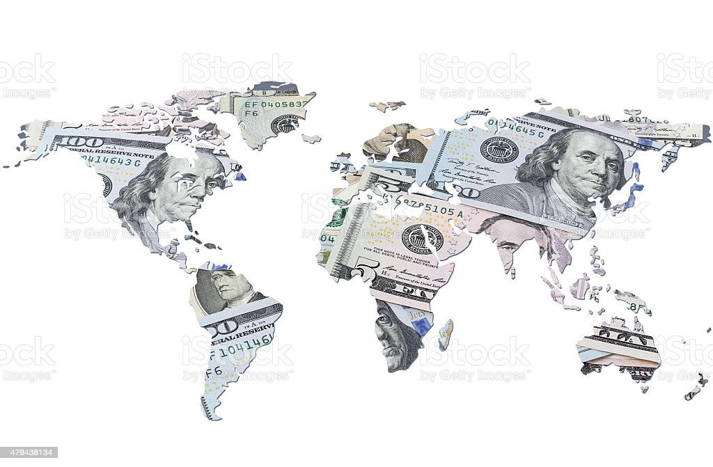 The world map made with dollar bills stock photo