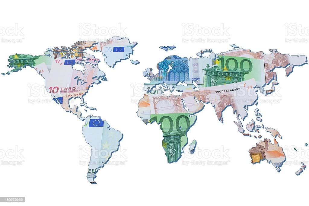 The world map made with euro bills stock photo