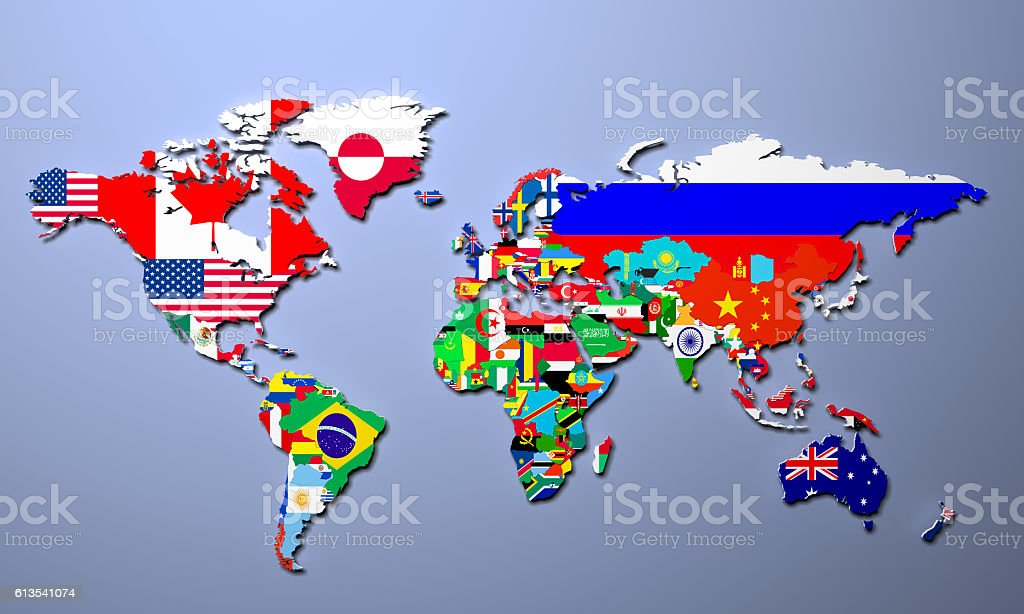 The World Map With All States And Their Flags Stock Photo - Map of all states