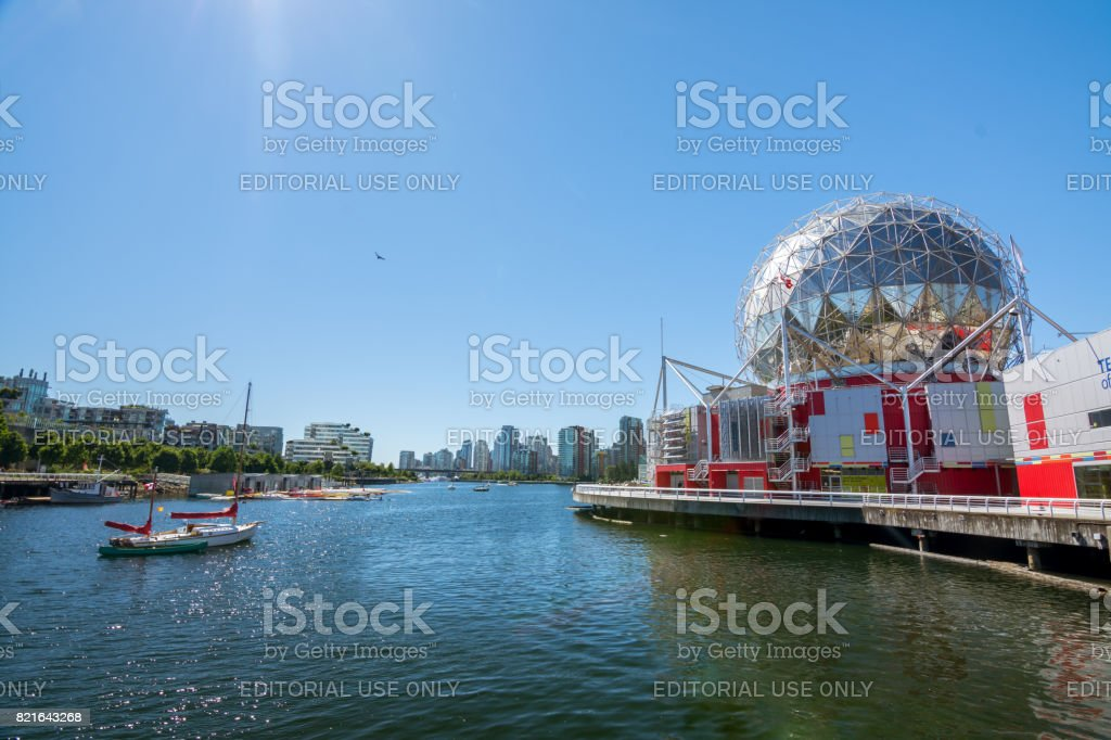 The world of science and olympic village at False creek on a sunny afternoon stock photo
