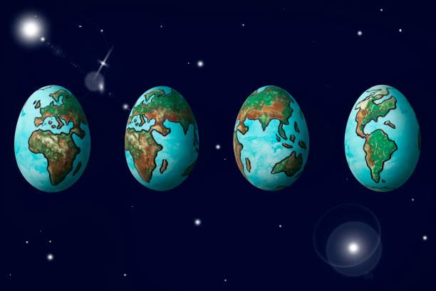 die welt gemalt auf den eiern zeigt drehung zyklus des planetenerde auf dunkelblauem hintergrund isoliert weltraum - schöne osterbilder stock-fotos und bilder