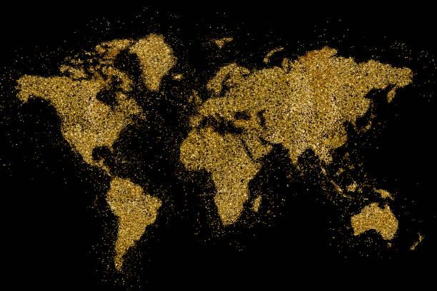 die welt, die geprägt vom goldenen glitzer auf schwarz (serie) - weihnachten de stock-fotos und bilder