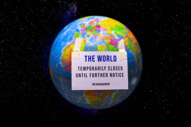 The world, temporarily closed due to COVID 19 stock photo