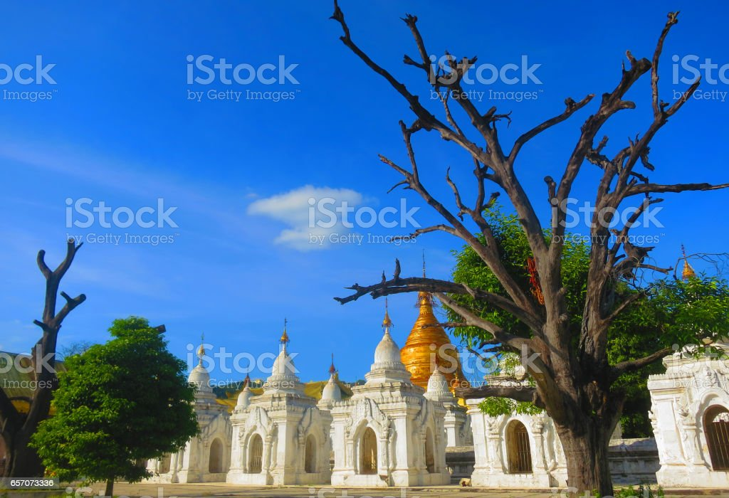 The World's Biggest Book - written on marble slabs inside the white Stupas at Kuthodaw Pagoda, Mandalay, Myanmar (Burma) stock photo