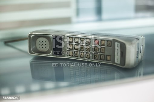 Guangzhou, China - July 5, 2013: The World's First Mobile Phone:Motorola DynaTAC 8000X.In 1983, the World saw the very first handheld cellular phone, the Motorola Dyna TAC 8000X