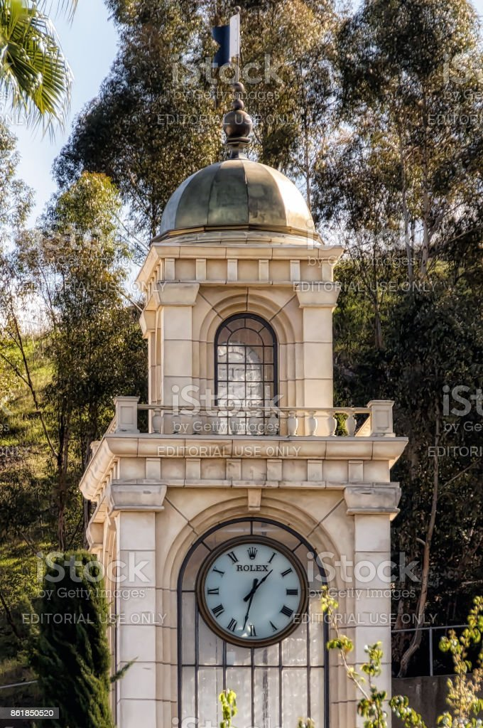 The world's largest Rolex in The Commons, an upscale shopping mall in Calabasas, California. stock photo