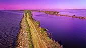 The silt jetties on the Mitchell River at Eagle Point in the Gippsland Lakes at sunset